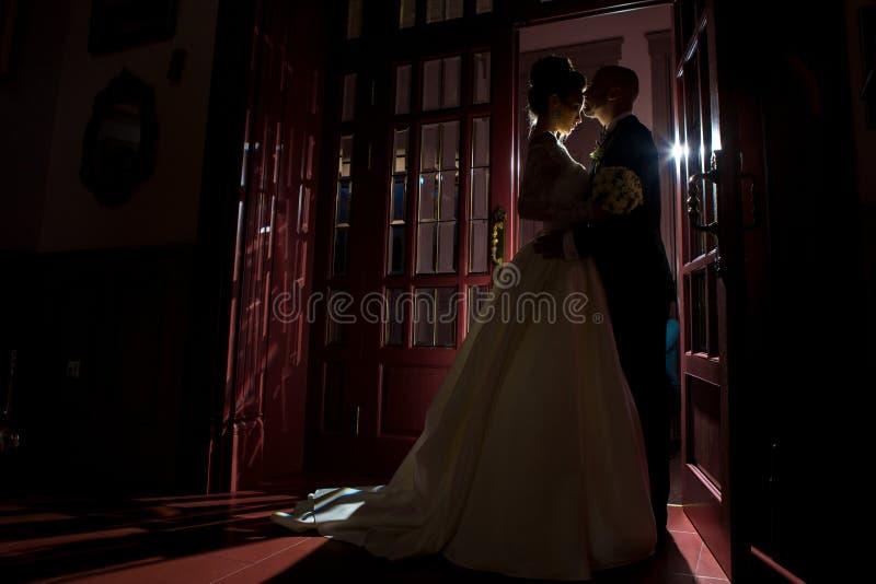 Kontur av precis att krama för gift par fotografering för bildbyråer