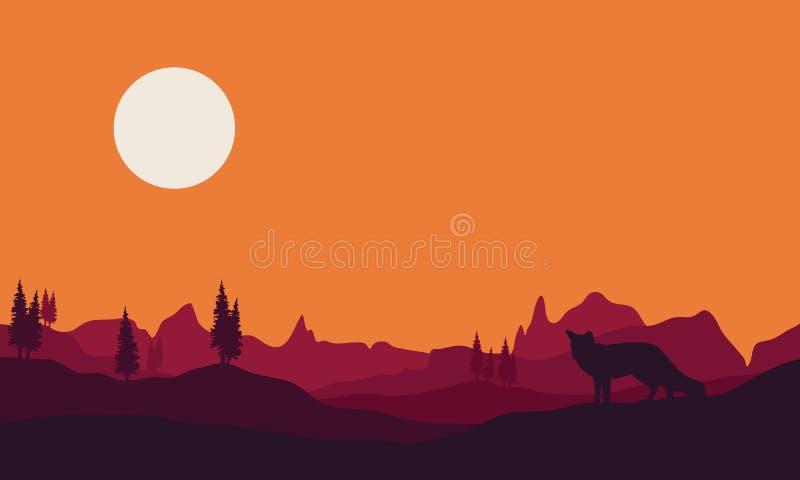 Kontur av räven i kullar stock illustrationer