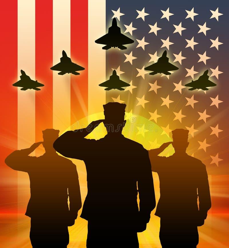 Kontur av saluterade USA-soldater royaltyfri illustrationer