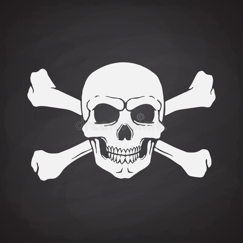 Kontur av skallen Jolly Roger med korslagda benknotor bakom vektor illustrationer