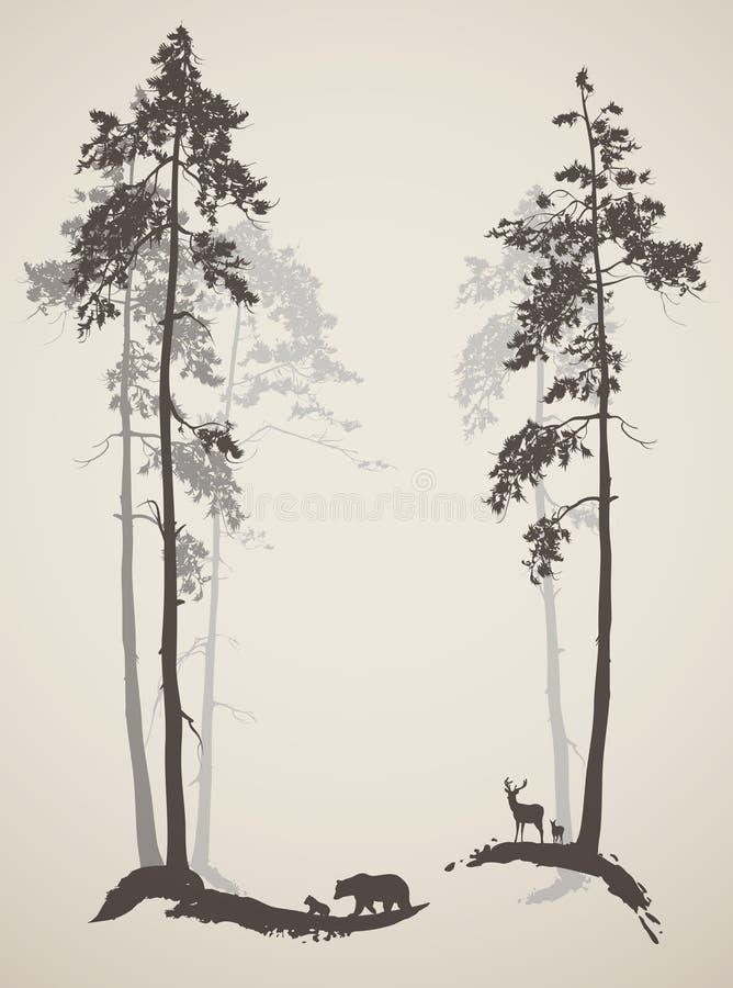 Kontur av skogen vektor illustrationer