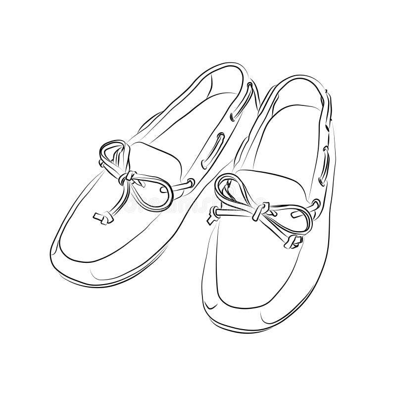 Kontur av skor på en vit bakgrund royaltyfri illustrationer