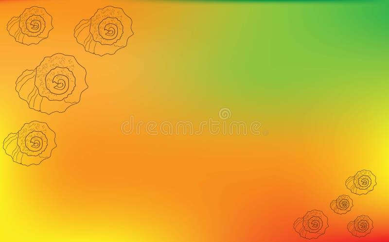 Kontur av snäckskal av olika format på enapelsin bakgrund royaltyfri illustrationer