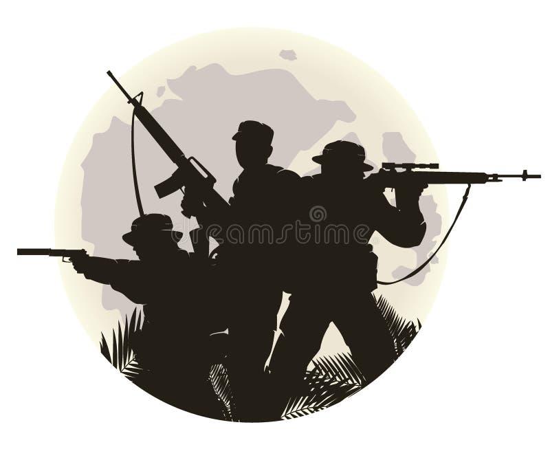 kontur av soldater royaltyfri bild