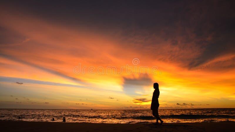 Kontur av ståenden för ung kvinna vid havet när solnedgång fotografering för bildbyråer
