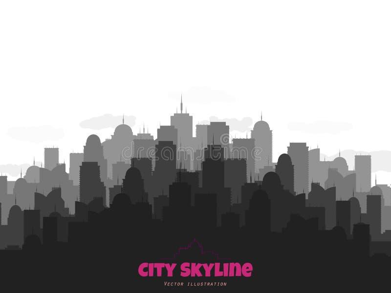 Kontur av stadshorisont Stads- illustration för vektor med byggnader vektor illustrationer