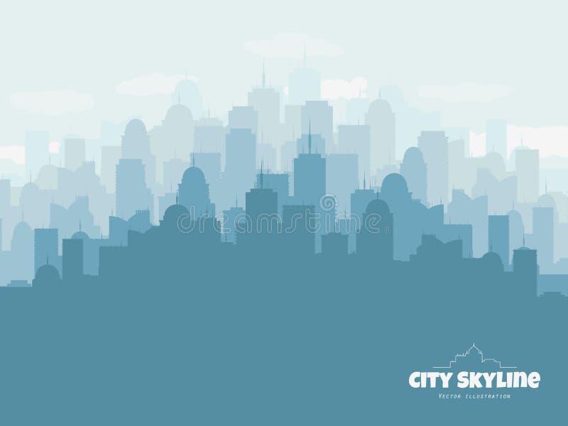 Kontur av stadshorisont Stads- illustration för vektor med byggnader stock illustrationer