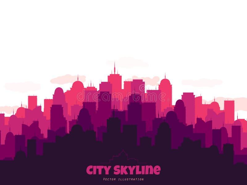 Kontur av stadshorisont Stads- illustration för vektor med byggnader royaltyfri illustrationer