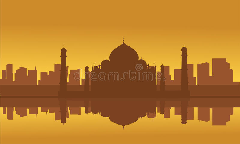 Kontur av Taj Mahal och staden vektor illustrationer