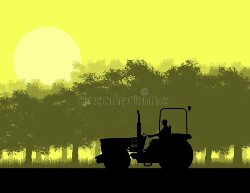 Kontur av traktoren i skog vektor illustrationer