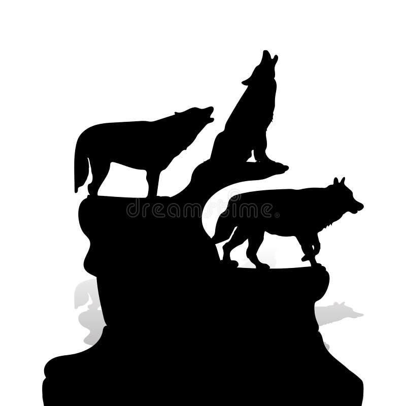 Kontur av tre svarta varger som tjuter, överst av en klippa, bilen royaltyfri illustrationer