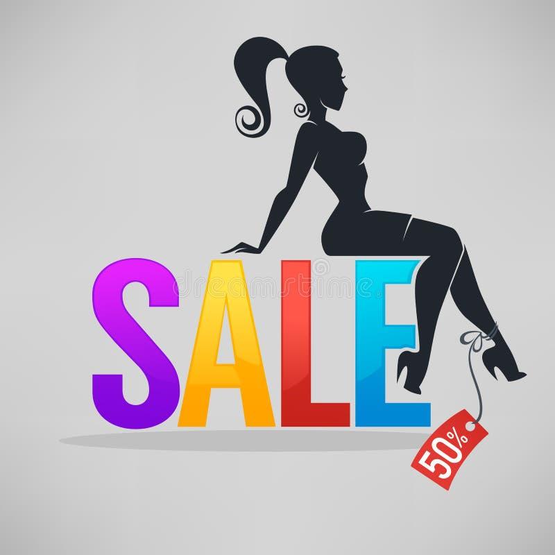 Kontur av trendigt flickasammanträde på SALE bokstäver royaltyfri illustrationer