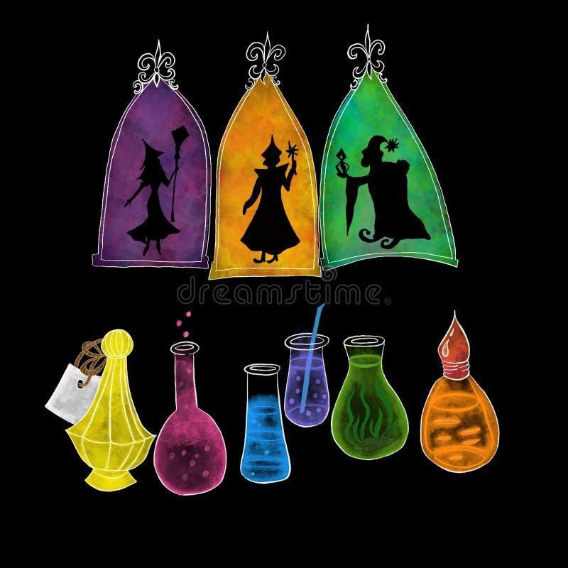 Kontur av trollkarlar och färgrika drycker på svart bakgrund för allhelgonaaftonnattberöm royaltyfri illustrationer
