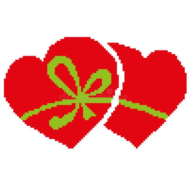 Kontur av två hjärtor som belönas av en grön pilbåge, vektorillustration som dras av fyrkanter, PIXEL vektor illustrationer