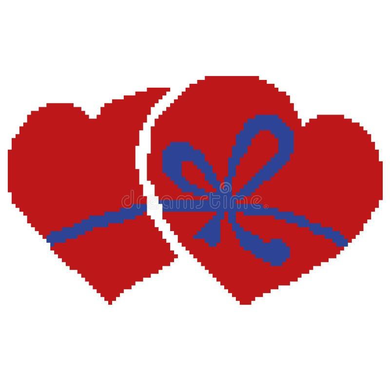 Kontur av två hjärtor som spolas tillbaka av en blå pilbåge, vektorillustration som dras av fyrkanter, PIXEL Dag för ` s för vale stock illustrationer