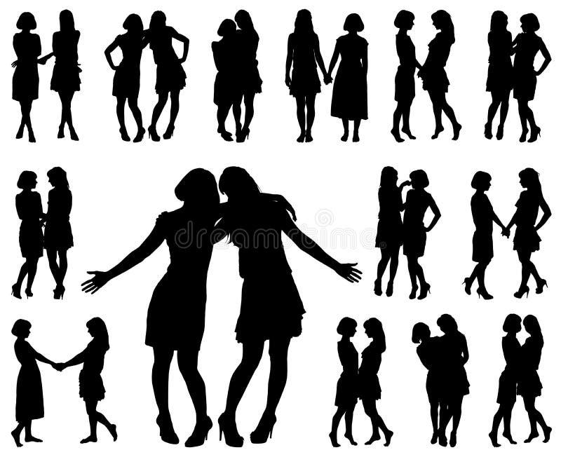 Kontur av två unga spensliga kvinnor stock illustrationer