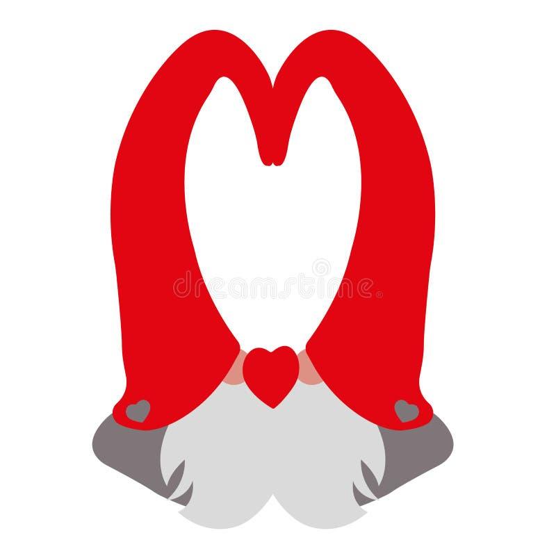 Kontur av två vängnomer i röda lock med gråa hjärtor på deras hattar För valentin` s för vykort lycklig dag vektor illustrationer
