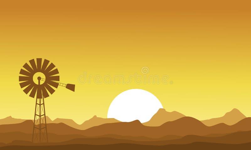 Kontur av väderkvarnen på solnedgången royaltyfri illustrationer