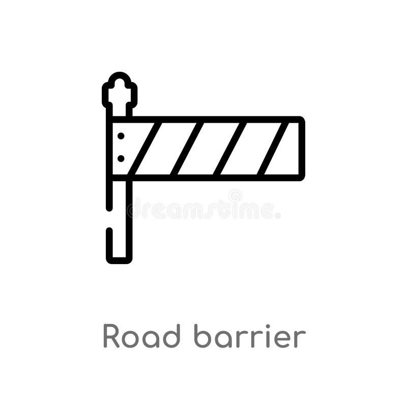kontur bariery wektoru drogowa ikona odosobniona czarna prosta kreskowego elementu ilustracja od budowy pojęcia Editable wektor ilustracja wektor
