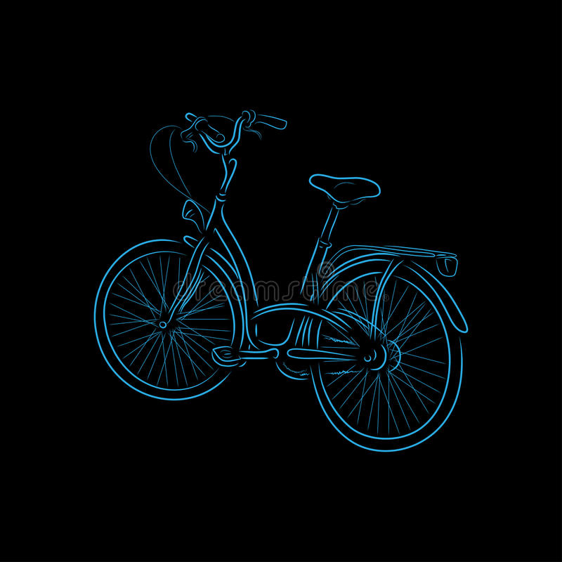 Kontur bicykl, wektorowa ilustracja zdjęcia stock