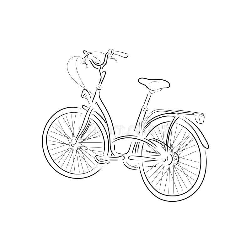 Kontur bicykl, wektorowa ilustracja obraz stock
