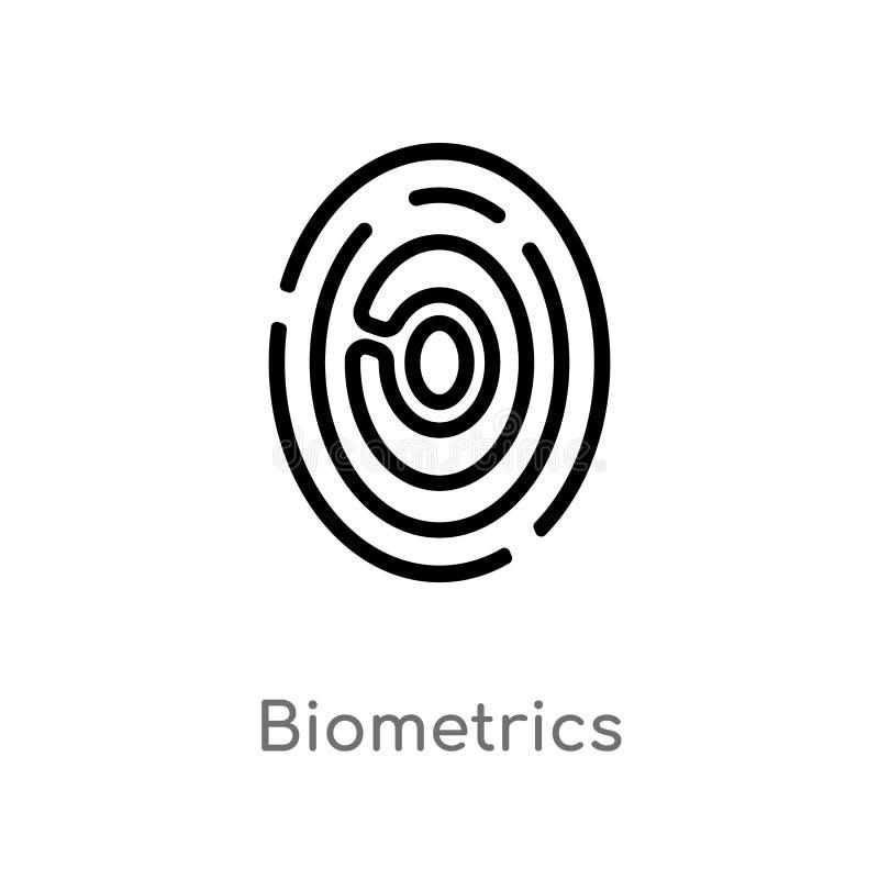 kontur biometrii wektoru ikona odosobniona czarna prosta kreskowego elementu ilustracja od sztucznego intellegence poj?cia _ ilustracji
