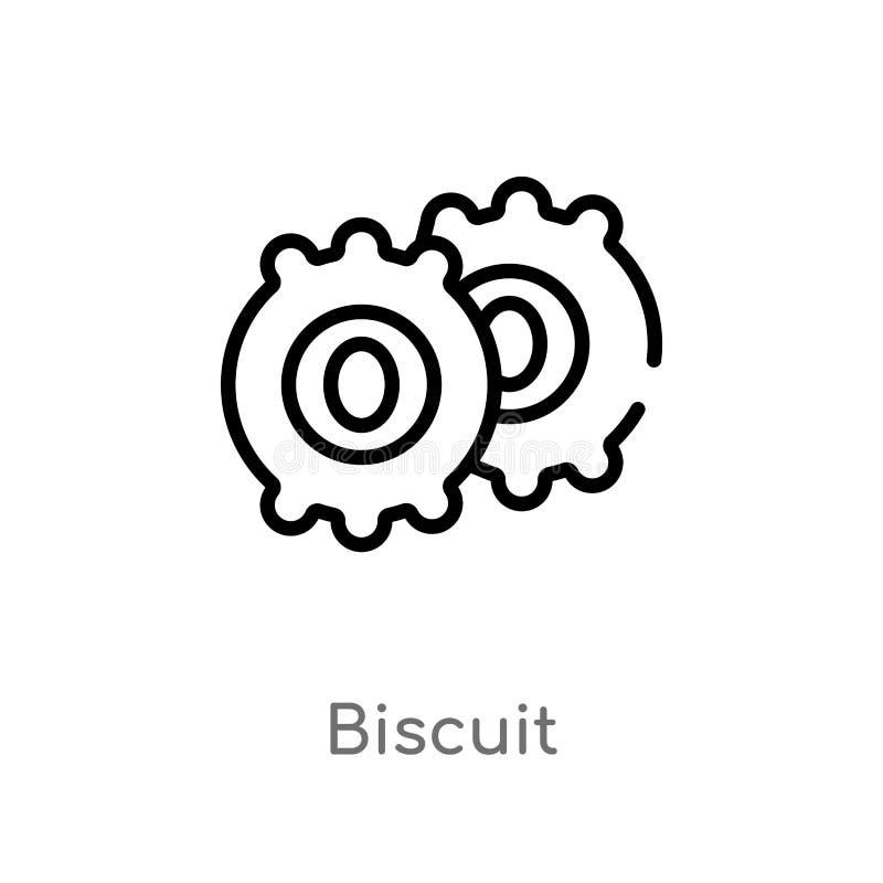 kontur biskwitowa wektorowa ikona odosobniona czarna prosta kreskowego elementu ilustracja od fasta food poj?cia Editable wektoro ilustracja wektor