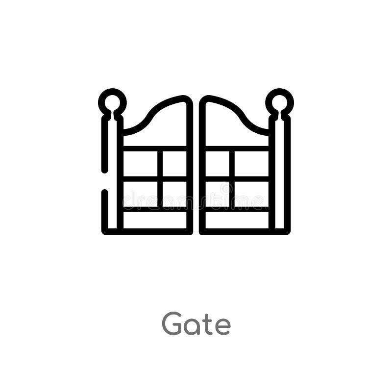 kontur bramy wektoru ikona odosobniona czarna prosta kreskowego elementu ilustracja od miasto element?w poj?cia editable wektorow royalty ilustracja