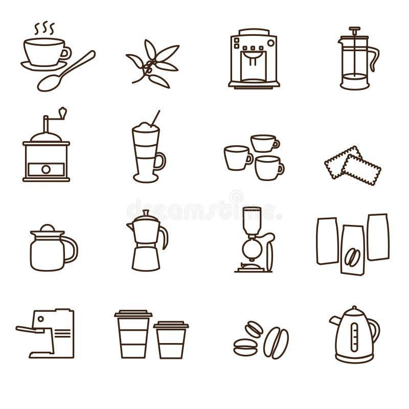 Kontur brown proste kawowe ikony ustawiać royalty ilustracja
