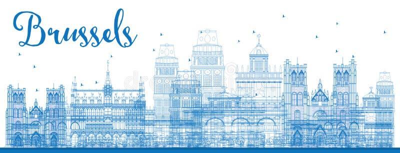 Kontur Brukselska linia horyzontu z Błękitnymi budynkami ilustracja wektor
