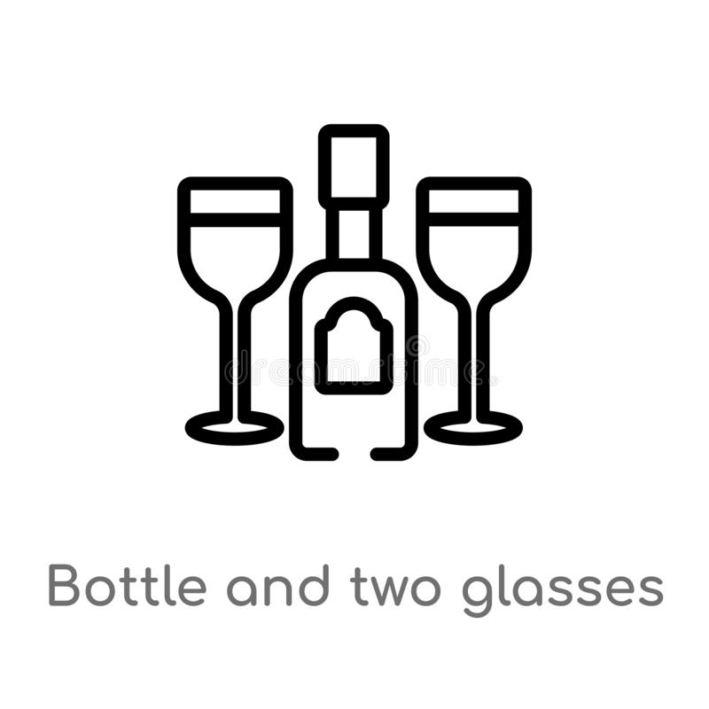 kontur butelka i dwa szkła wektor ikony odosobniona czarna prosta kreskowego elementu ilustracja od partyjnego pojęcia Editable w royalty ilustracja