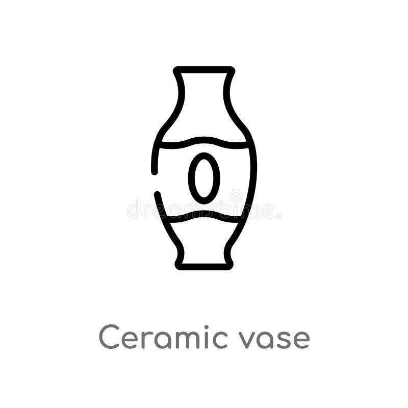 kontur ceramiczna wazowa wektorowa ikona odosobniona czarna prosta kreskowego elementu ilustracja od sztuki pojęcia editable wekt royalty ilustracja