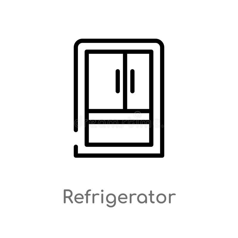 kontur chłodziarki wektoru ikona odosobniona czarna prosta kreskowego elementu ilustracja od meble i gospodarstwa domowego poj?ci ilustracja wektor