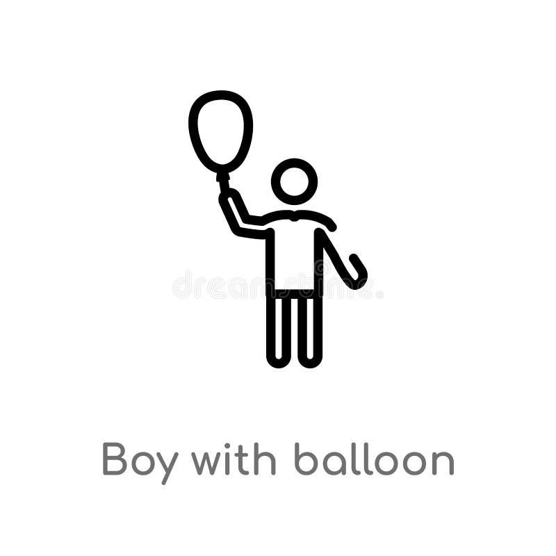 kontur ch?opiec z balonow? wektorow? ikon? odosobniona czarna prosta kreskowego elementu ilustracja od ludzi poj?? Editable wekto ilustracja wektor