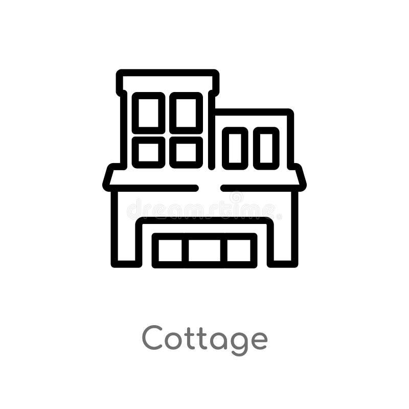 kontur chałupy wektoru ikona odosobniona czarna prosta kreskowego elementu ilustracja od luksusowego pojęcia editable wektorowa u ilustracja wektor