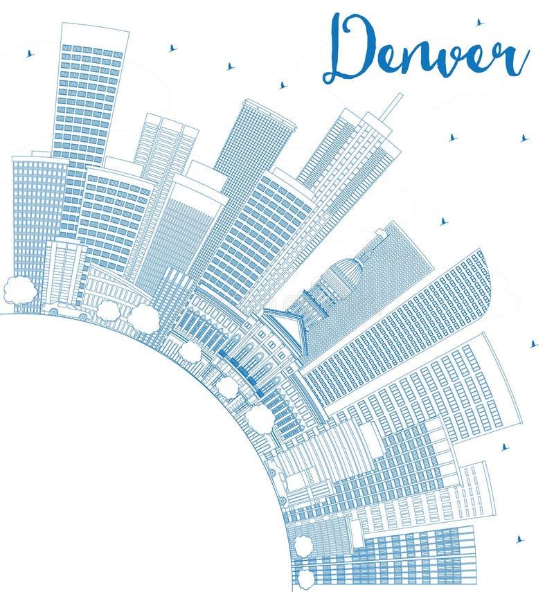 Kontur Denwerska linia horyzontu z Błękitną kopii przestrzenią i budynkami ilustracji