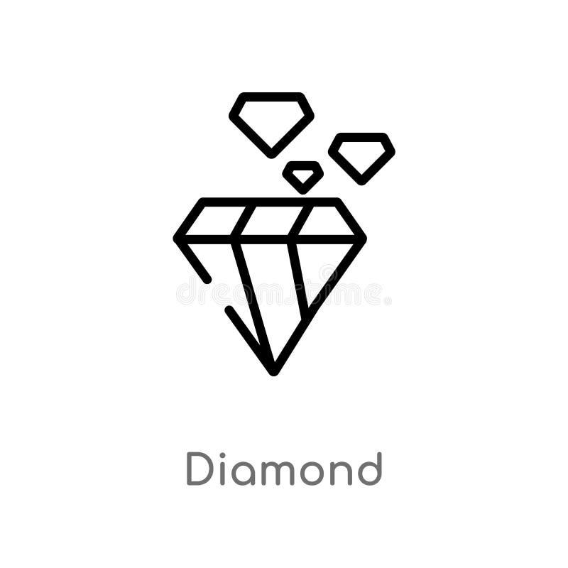 kontur diamentowa wektorowa ikona odosobniona czarna prosta kreskowego elementu ilustracja od obs?ugi klientej poj?cia Editable w royalty ilustracja