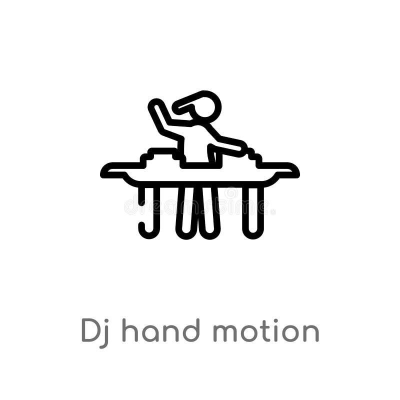 kontur dj wręcza ruchu wektoru ikonę odosobniona czarna prosta kreskowego elementu ilustracja od muzycznego poj?cia editable wekt ilustracji