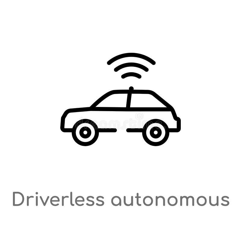 kontur driverless autonomiczna samochodowa wektorowa ikona odosobniona czarna prosta kreskowego elementu ilustracja od sztucznego royalty ilustracja
