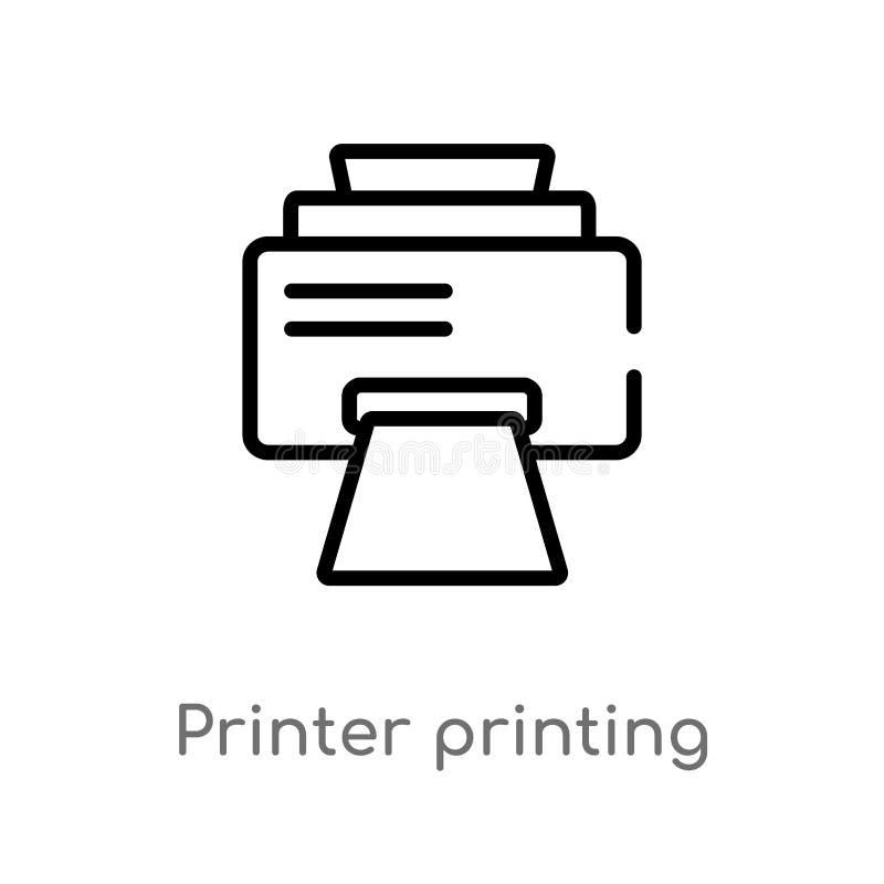 kontur drukarki druk obciosuje wektorową ikonę odosobniona czarna prosta kreskowego elementu ilustracja od interfejs u?ytkownika  ilustracji