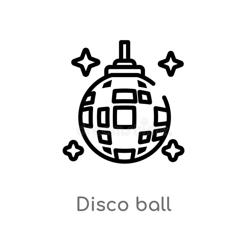 kontur dyskoteki balowa wektorowa ikona odosobniona czarna prosta kreskowego elementu ilustracja od czasu wolnego pojęcia Editabl ilustracji