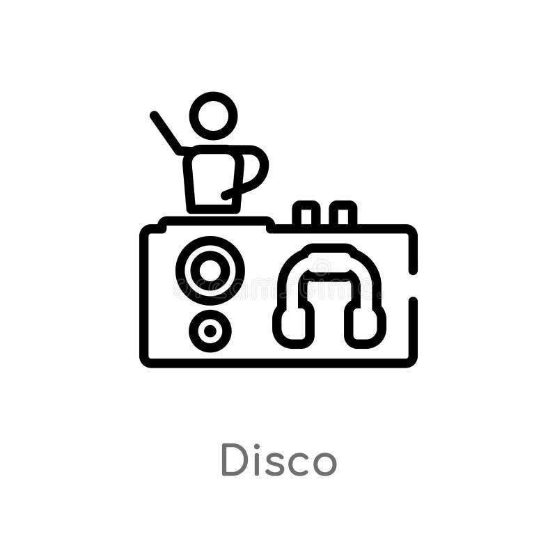 kontur dyskoteki wektoru ikona odosobniona czarna prosta kreskowego elementu ilustracja od discotheque poj?cia editable wektorowa royalty ilustracja