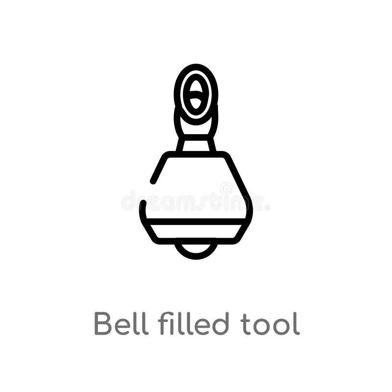 kontur dzwon wypełniająca narzędziowa wektorowa ikona odosobniona czarna prosta kreskowego elementu ilustracja od muzycznego poję royalty ilustracja