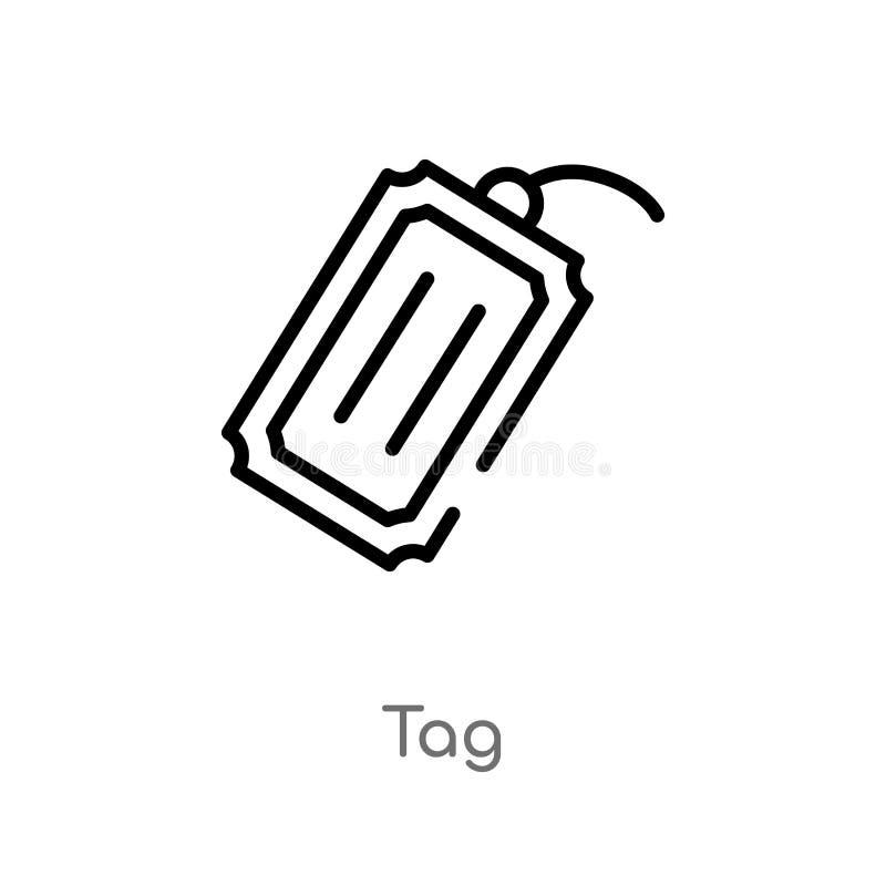 kontur etykietki wektoru ikona odosobniona czarna prosta kreskowego elementu ilustracja od doręczeniowego i logistycznie pojęcia  royalty ilustracja