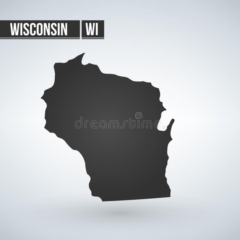 Kontur för översikt Wisconsin för statlig vektor som isoleras på vit bakgrund Kick specificerad illustration Enigt tillstånd av d royaltyfri illustrationer