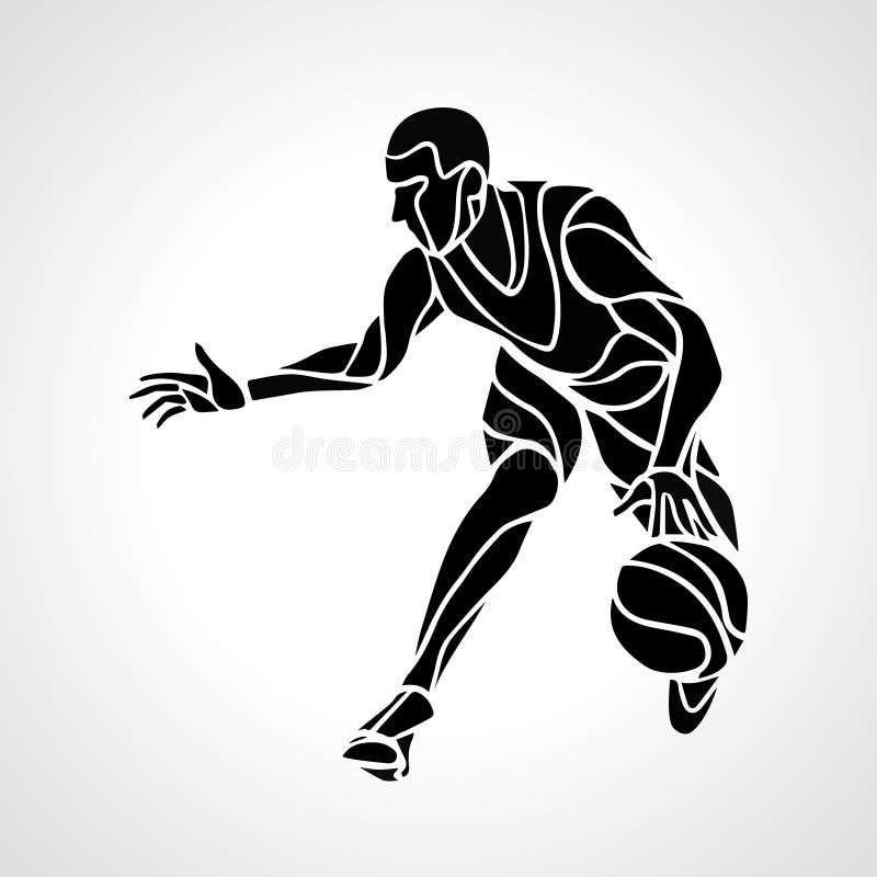 Kontur för abstrakt begrepp för basketspelare stock illustrationer