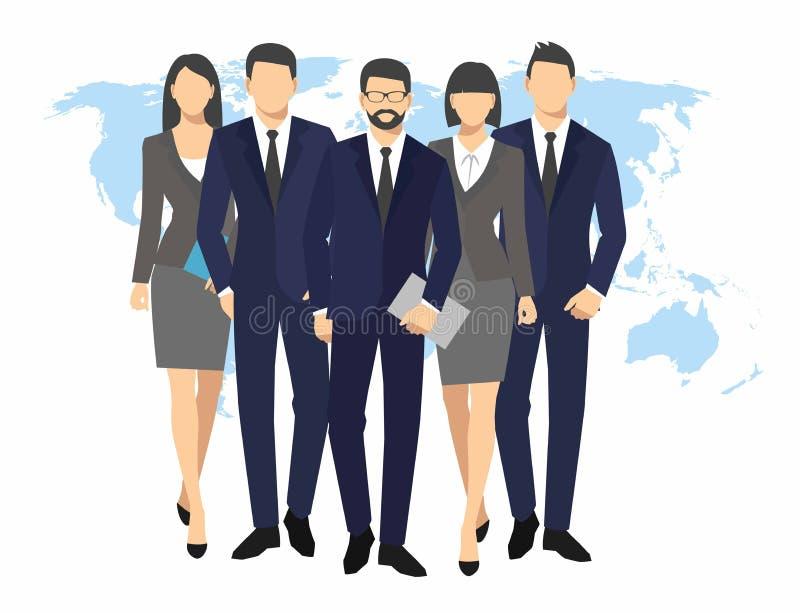 Kontur för affärsmän och kvinna mappar för dokument för håll för lagbusinesspeoplegrupp på illustration för världskartabakgrundsv vektor illustrationer