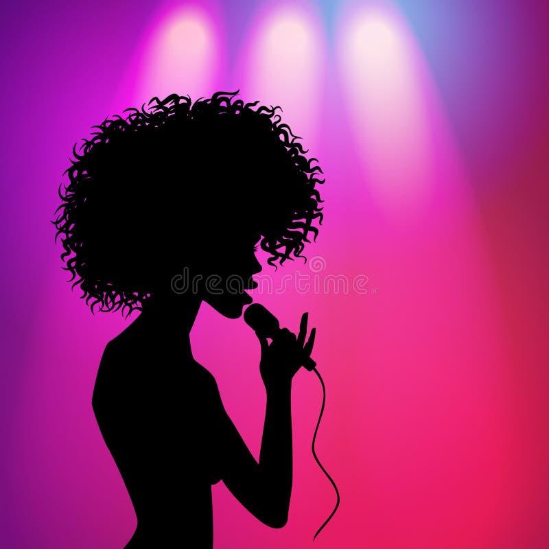 Kontur för afro amerikansk flicka för vektor sjungande stock illustrationer