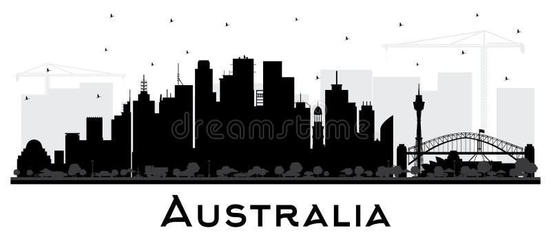 Kontur för Australien stadshorisont med svarta byggnader som isoleras på vit vektor illustrationer