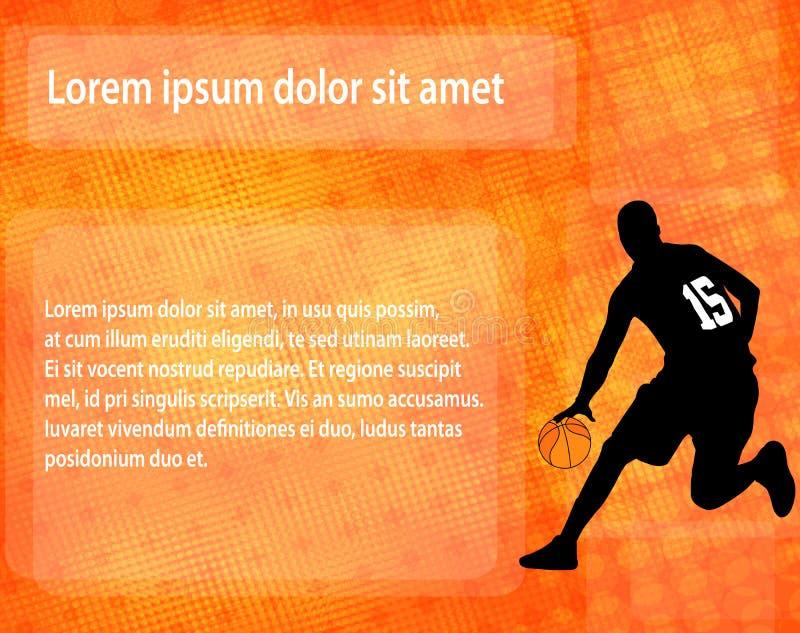 Kontur för basketspelare på den abstrakta bakgrunden vektor illustrationer